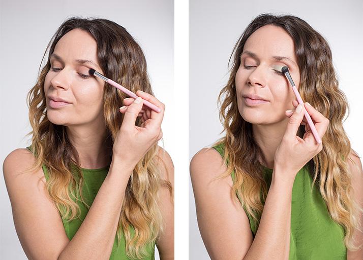 Maquillage vert fards